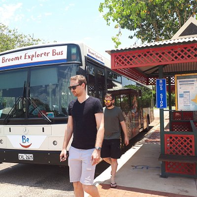 Broome has bus stops in theme with its pearling cultural heritage, learn more about the green and red painting at Pearl Luggers in Broome