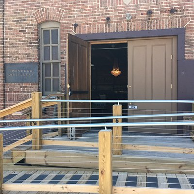 Front entrance of Ironclad Distillery with Handicapped friendly ramp.