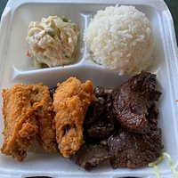 combo plate of fried chicken and teriyaki beef