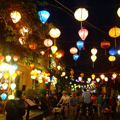 streets by riverfront looked lovely at night all lit up with lanterns