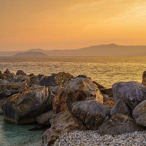 The photo is taken from a beach near Chrousou, a village on the western peninsula of Halkidiki - Kassandra.