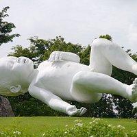 Impressive floating baby sculpture