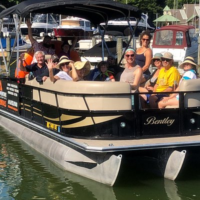 A big family having a great time on our 24' tritoon. It holds up to 16 people!