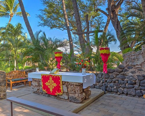The first Sunday of every month is Hawaiian service and just a beautiful experience.  This is the outdoor altar of this amazing Historic Hawaiian Ruins Church.  Every Sunday at 9 am is Eucharistic Service at this inclusive and all-welcoming church.