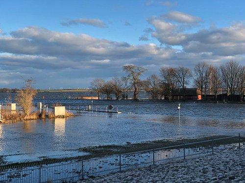 Das Strumfluthochwasser reicht bis an den Deich vor dem Sperrwerk.