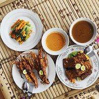 Lobster, tempeh, peanut sauce
