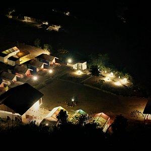 Night aerial view of Taarini Corbett Camp