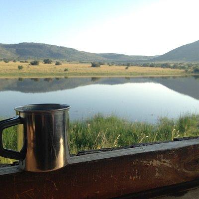 Enjoying a coffee in Pilanesberg