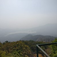 View of the lakes from the summit. It was hazy, perhaps due to pollution
