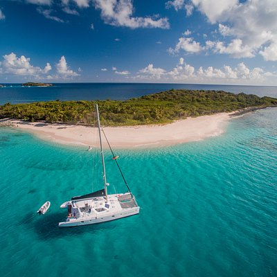 VOYAGE Yacht anchored off Sandy Cay, British Virgin Islands