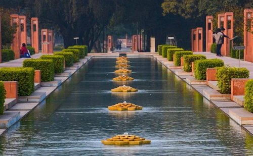 The PARADISE GARDENS at Sunder Nursery; fountains, flowing water enclosed in flower beds.