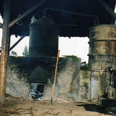 Alambic pour la fabrication des  huiles essentielles. Début de la fabrication d'huile essentielle de Géranium rosat par Jean-Yves BEGUE en 1994