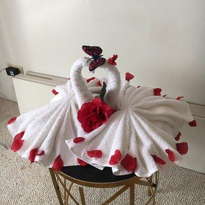 Swan-shaped towel