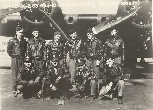 MI-AMIGO crew during training in Seattle, with Lt Kriegshauser front row (left). Their final mission came after 15 daylight raids over Nazi-occupied Europe (out of a tour of 25 missions). The crew ranged in age from 20-24.