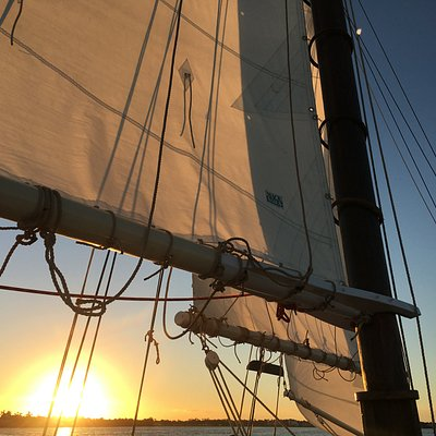 Sunset under sail on the Schooner Lily in the North Fork of the St. Lucie River