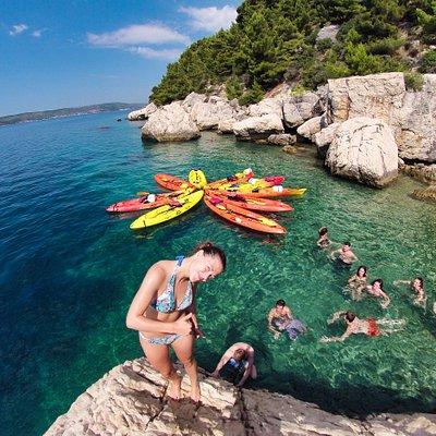 Cliff climbing on Split Sea Kayaking