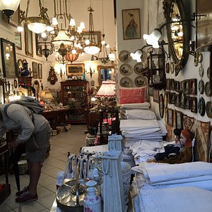 Lovely shop packed to the rafters with linens