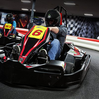 """Fast indoor electric go karts for all ages.  Adult karts are capable of 45 MPH, junior karts for age 6 and up and 48"""" tall.  If you like races and not rides, this is the place to go in Tulsa for the thrill of a race."""