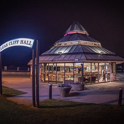 Leas Cliff Hall at night.