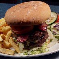 8oz bacon cheese burger, bit of a feast