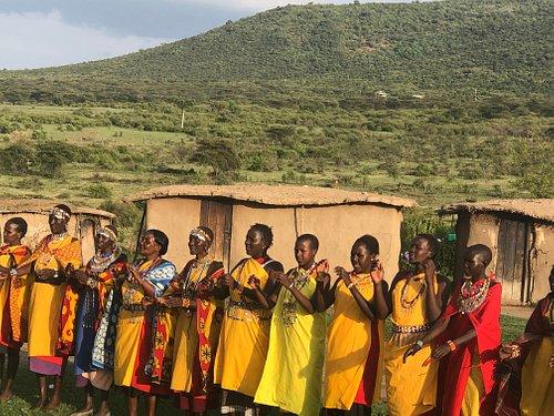 Maasai ladies singing in a boma in Nashulai conservancy