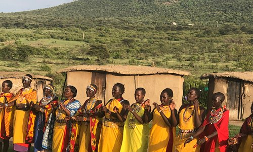 Maasai ladies singing in a boma in Nashulai conservancy