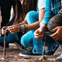 Bosque Energético de Miramar - Visita guiada con alumnos de la Provincia de Buenos Aires - Prueba de Equilibrio de las Ramas del Bosque.