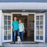 Owner/winemakers Meredith and Michael and wine dog, Kimba at the cellar door