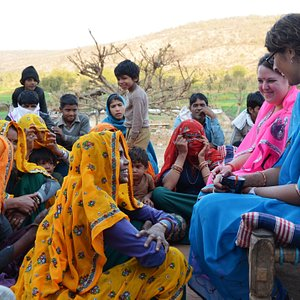 Discussion with locals with the help of a translator.