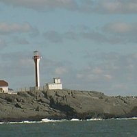 false harbour lighthouse in background