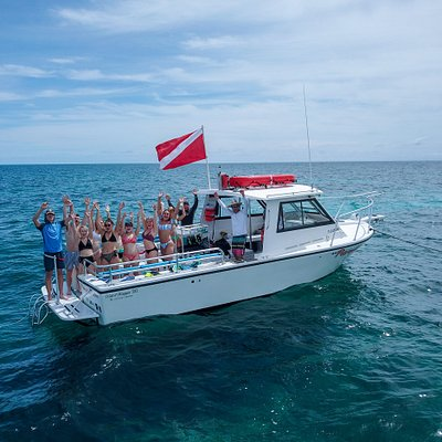 Our boat, Paradise Below, with a group from West Virginia University