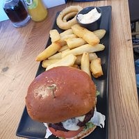 Proper burger and chips to die for!!