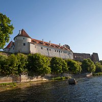This is the view of the Bauska Castle from the river Mēmele.