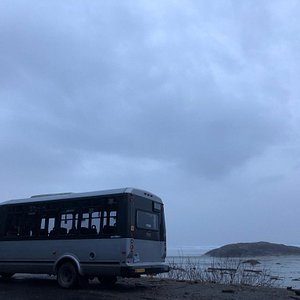 The TikiBus out at Incinerator Rock parking lot in Pacific Rim National Park Reserve