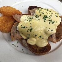 Eggs Benedict with ham - yum!