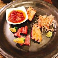 鴨の刺身、炙り、オイル漬け
