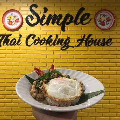 Basil stir-fried with fried egg on rice at Somple Thai Cooking House!!