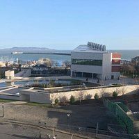 The DLR Lexicon as seen from Royal Marine Hotel... Dublin bay in the background
