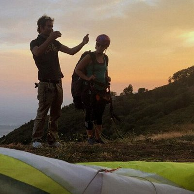Elizabeth gets a briefing before her first paragliding launch from Crestline, CA