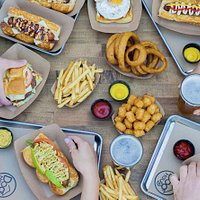 Burgers, dogs, sausage, burgers and beer!