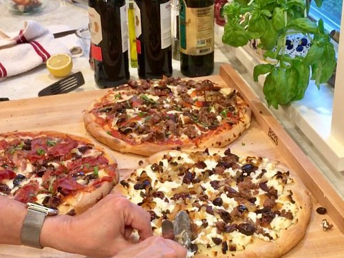 Completed pizzas