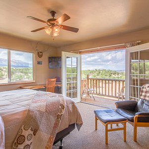 Mt Princeton room and balcony, facing west to the mountains. Has a kingsized bed.
