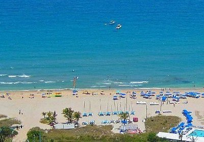 Aerial view of Delray. Beach Water Spprts rentals with ship wreck just off shore