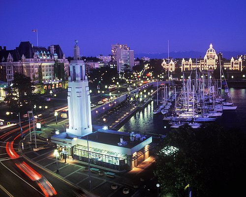 Victoria's Inner Harbour and Visitor Centre at night