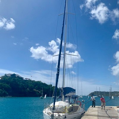 Dream Yacht Charter Dufour Antigua refuelling at Falmouth Harbour