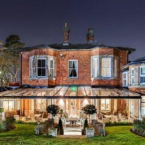 Night image of garden terrace