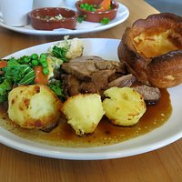 Roast lamb with wonderful spuds/kale/carrots/peas and cheesy broccoli....lots of gravy! Oh...and a lovely Yorkie pud!