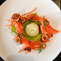 Dill and salt cured arctic char, pickled and roasted carrots and dill-leek creme. Superb!