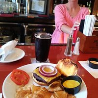 Burger with housemaid chips and a peanut butter/Chocolate Stout, Great service from Ashley at the bar