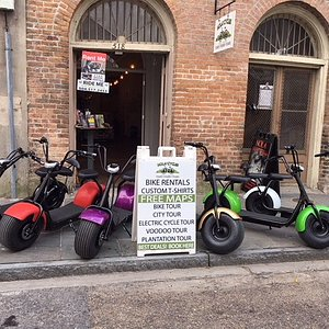 These electric cycles are a fun way to ride down the center of the famous canal street.